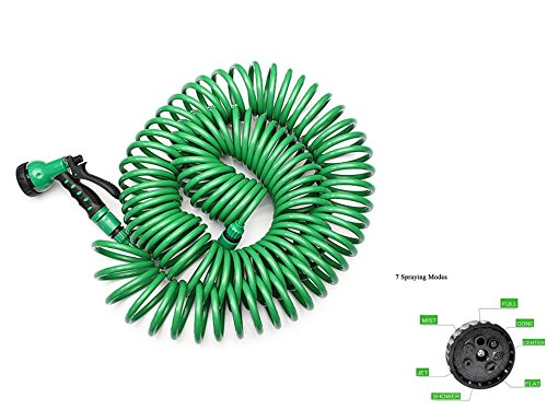6' Vegetable Spray Hose (Starworld-25M Automatically expands super strong& durable ultra lightweight Flexible Portable Expandable Garden spiral coil Water Hose w/ Nozzle 7 pattern washing car polyester fabric Green color)