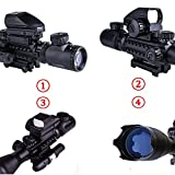UUQ 4-16x50EG AR15 Tactical Rifle Scope Red/Green Illuminated Range Finder Reticle W/ Red(Green) Laser and Multi Optical Coated Holographic Dot Sight (12 Month Guarantee)