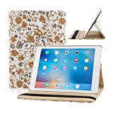 TOPCHANCES Slim Mordern Smart Cover Case for the iPad Air, iPad 5 with Auto Sleep/Wake Function Built in Stand-Green Embossed Flowerss Case (Humulan Kakki)