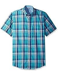 Izod mens big-tall Big and Tall Saltwater Short Sleeve Plaid Shirt