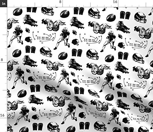 (American Football Fabric - American Football Sports Football Sports Football Player Sport Pigskin Black and White by Thinlinetextiles Printed on Organic Cotton Knit Ultra Fabric by The)
