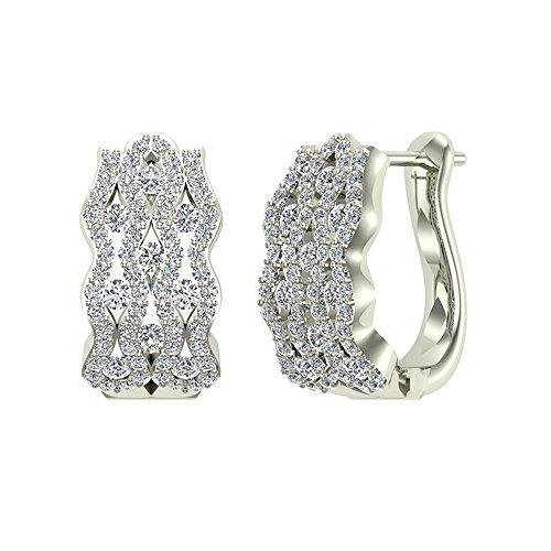 18k White Gold Diamond Hoop Earrings - 1.24 ct tw Intertwined Huggies Styled Diamond Hoop Earrings 18K White Gold