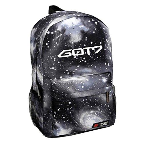 Kpop GOT7 Backpack BamBam Jackson JB Mark Schoolbag Starry Sky Satchel Black