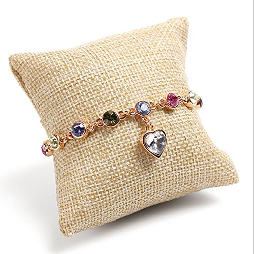 Ellami 10-pieces Small Linen Bracelet Watch Pillow Jewelry Displays 3.5