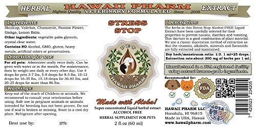 Stress Stop, VETERINARY Natural Alcohol-FREE Liquid Extract, Pet Herbal Supplement 2 oz by HawaiiPharm (Image #1)