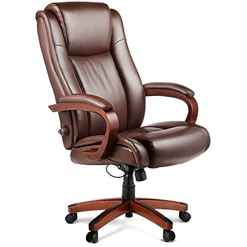Halter HAL-038 Executive Bonded Leather Office Chair, Home & Office Computer Desk Chair, w/Wood Arms & Padded Leather Pads