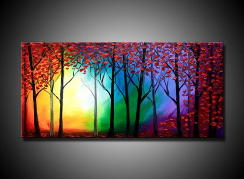 Rainbow Forest , Canvas Art, Oil Paintings, Wall Art