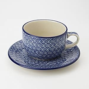 Polish Pottery Teacup and Saucer – Doodle – 200ml