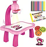 7TECH Drawing Projector Music Painting Desk With 24 Patterns-12 Colorful Water Pens Treasures Tracer Art Projector For Kids - Pink Flower
