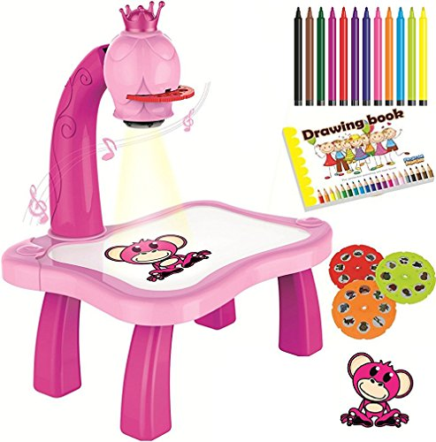 7TECH Drawing Projector Music Painting Desk With 24 Patterns-12 Colorful Water Pens Treasures Tracer Art Projector For Kids - Pink (Board Flowers Painting)