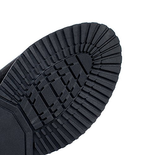 Allhqfashion Women's Pull On Round Closed Toe Kitten Heels Frosted High Top Boots Black wxERotj