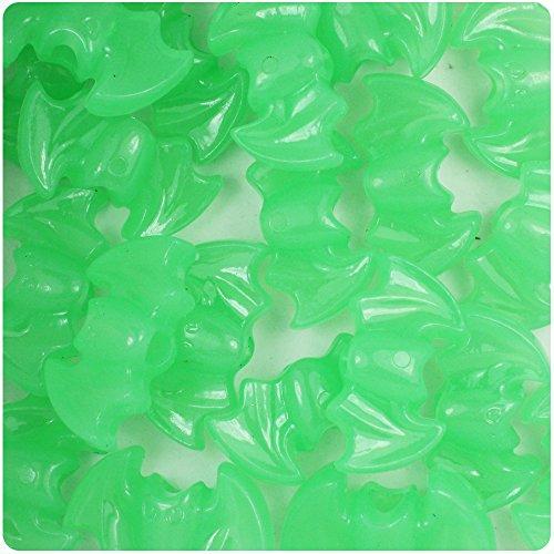 BeadTin Green Glow 25mm Bat Pony Beads (24pcs) ()
