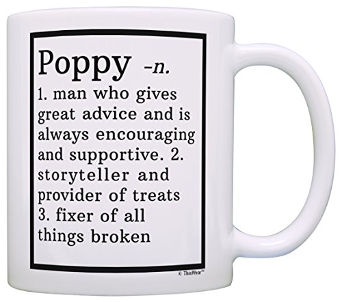 (Funny Poppy Gifts Poppy Grandpa Definition Fathers Day Gifts for Poppy Gift Coffee Mug Tea Cup White)