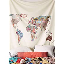 """Floral World Map Wall Hanging Map Tapestry Fabric Wallpaper Home Decor,60""""x 80"""",Twin Size"""