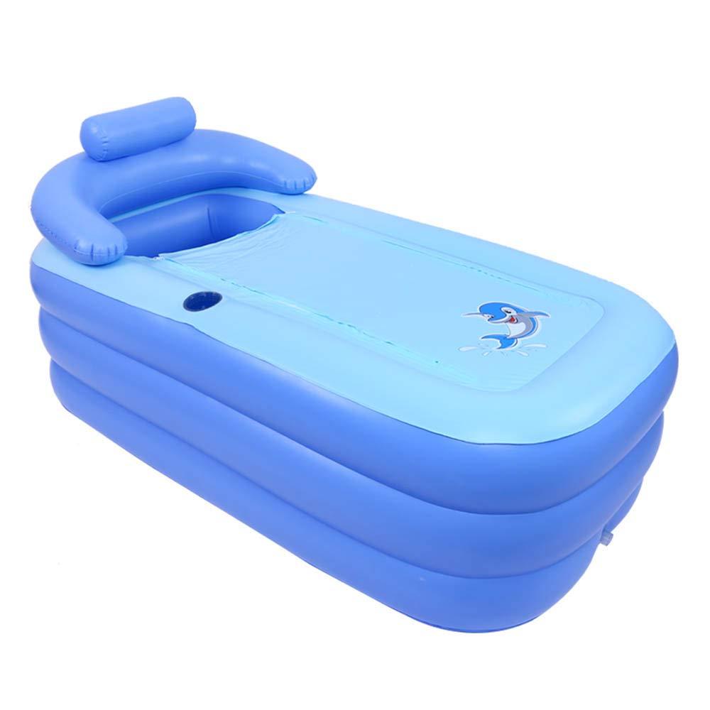 膨脹可能な浴槽の大人の風呂、家の鉱泉、折り畳み式の厚いプラスチックシャワーの皿  Electric pump blue B07TM2BWSJ