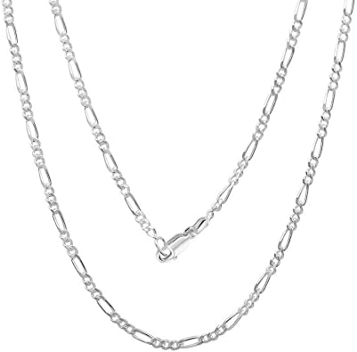 Sterling Silver Flat Figaro Chain 1mm-13mm Solid 925 Italy Link Womens Mens Necklace