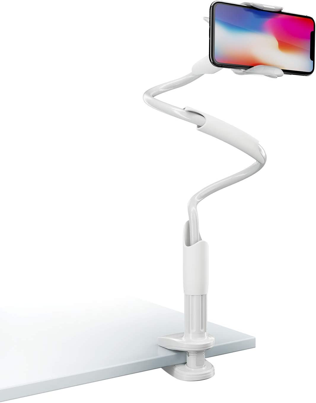 Phone Holder Bed Gooseneck Mount - Lamicall Flexible Arm 360 Mount Clip Bracket Clamp Stand for Cell Phone 11 Pro XS Max XR X 8 7 6 Plus 5 4, Samsung S10 S9 S8 S7 S6, Overall Length 33.4In(White)