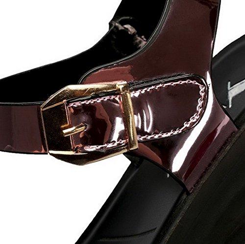 à Voguezone009 bas ouvert tissu pour bout Sandales talons femmes boucle brillant OOqn5P