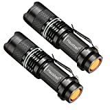 Hausbell Flashlights, 7W Mini LED Flashlight Fluorescent Ring, Zoomable, Water Resistant- 3 Modes for Indoors and Outdoors (Camping, Cycling, Emergency, and Gift-Giving) (2Pack New)