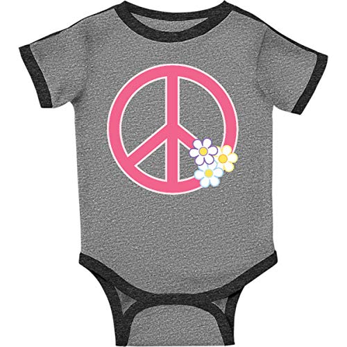 inktastic - Peace Sign Infant Creeper 18 Months Ringer Heather and Smoke 31420