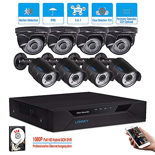 LONNKY 1080P Home Security Camera System,8CH Full True 1080P HD-TVI Video CCTV DVR and 8X 1080P HD Outdoor Indoor Weatherproof Security Cameras with 100ft Night Vision, 2TB Hard Drive Included