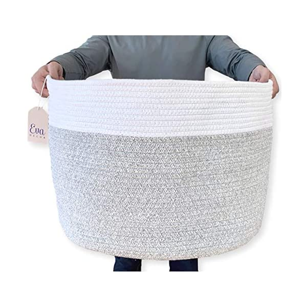 XXXLarge Cotton Rope Basket – 22″x22″x14″ – Woven Hamper Basket with Solid Handles – Use for Towels or Sofa Throws in The Living Room – Ideal for Baby Laundry, Toy Storage & Decorative Blankets