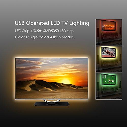 Derlson Bias Lighting for TV. Decorative Light / LED Strip Lights / Backlight Kit for Home-Theater ,Under-Cabinet , PC Monitor, Furniture, Decoration (Multi-Color RGB,USB Powered , Remote Control)