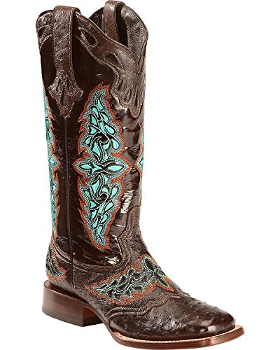Lucchese Women's Handmade Chocolate Amberlyn Full Quill Ostrich Boot Square Toe Chocolate 8.5 M (Womens Full Quill Ostrich Boot)