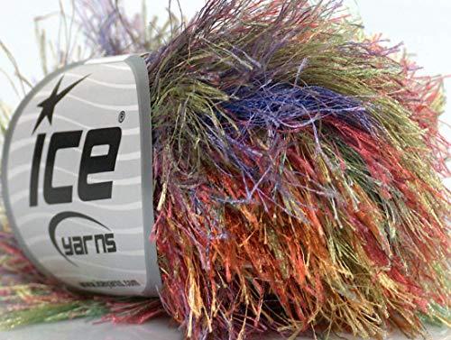Long Yarn Eyelash (Lot of 8 Skeins Ice Yarns LONG EYELASH COLORFUL Hand Knitting Yarn Rainbow)