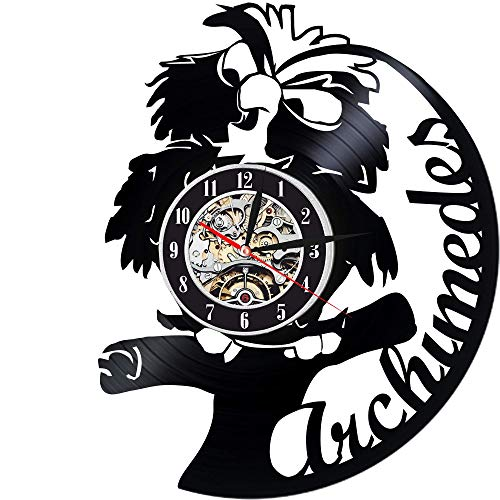 Levescale - Archimedes Vinyl Wall Clock - Exclusive Bird Design - Perfect Cartoon Gift for Kids, Boy Or Girl - Decortion for Classroom, Bedroom Or Play Room - Disney Owl Stone Sword (Archimedes From The Sword In The Stone)