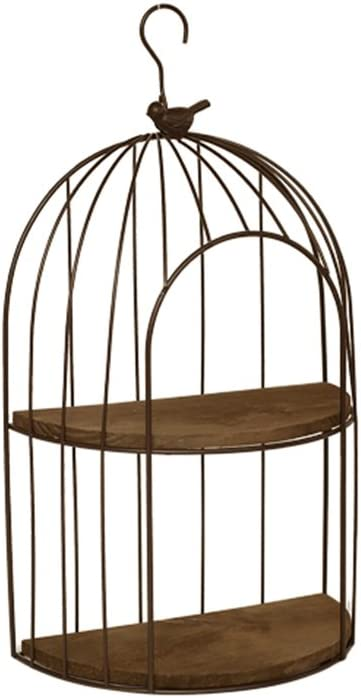 HQCC HQQ Vintage balcón de Hierro Forjado Jaula de pájaros Estante de Pared Estante de Pared decoración de la Pared de Escritorio Mini Estante de Almacenamiento (Color : Beige)
