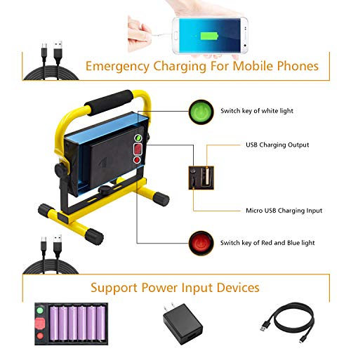 Rechargeable LED Work Light, Tresda 100W COB Portable Floodlight 3000 Lumens IP65 Waterproof Spotlight with Stand for Camping Garage Workshop Site Repairing Job Site Light (with 6 Batteries&Chargers)