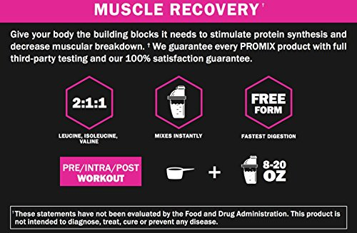 PROMIX: Cherry Limeade: BCAA powder, 2:1:1 Ratio of L form Branched Chain Amino Acids. Dual Stage Micronized + Instanitized: No: Soy/GMO's. Mix Instantly. Lean Muscle and Fat Loss. 10 Servings