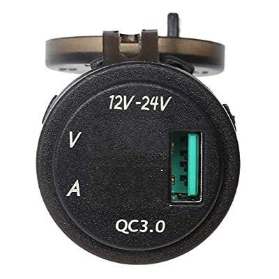Charger & Socket Adapter 12V/24V QC 3.0 LED USB Charger Socket Voltmeter Current Display for Boat Motorcycle