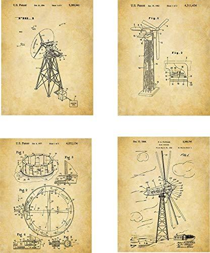 Wind Generating Patent Wall Art Prints - set of Four (8x10) Unframed - wall art decor with wind - Generating Turbines Wind