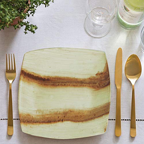 8'' Quadrato Square Disposable Palm Leaf Plates by Scrafts - Compostable,Biodegradable Heavy Duty Dinner Party Plate - Comparable to Bamboo Wood - Elegant Plant Based Dishware: (50 pcs Pack) by Scrafts (Image #2)