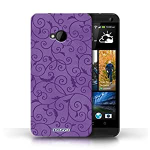 KOBALT? Protective Hard Back Phone Case / Cover for HTC One/1 M7 | Purple Design | Vine Floral Pattern Collection