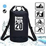 AKJMMZ Waterproof Dry Bag 20L Roll Top Dry Compression Sack Keeps Gear Dry for Kayaking Floating Dry Backpack for Water Sports Fishing Boating Beach Rafting Hiking Snowboarding Camping