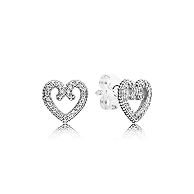 5508a7dce Amazon.com: Pandora Heart Swirls Silver One Size Earring 297099CZ: Jewelry