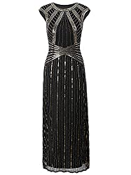 Long Sequin Dress With Cap Sleeve & Beads