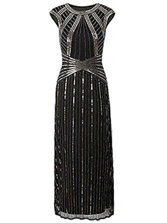 Vijiv 1920s Long Prom Dresses Cap Sleeve Beaded Sequin