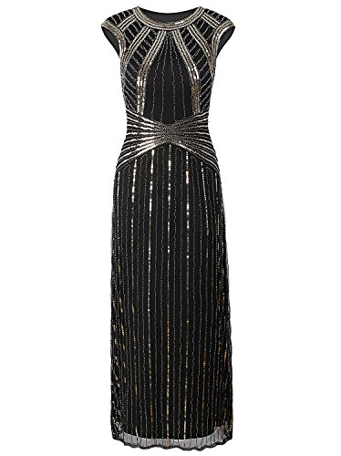 Vijiv 1920s Long Prom Dresses Cap Sleeve Beaded Sequin Maxi Evening Party Dress (Homemade Gangster Woman Costume)