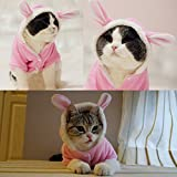 BroBear Plush Rabbit Outfit with Hood & Bunny Ears for Small Dogs & Cats Pink (Small)