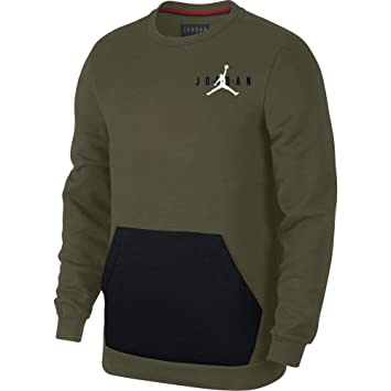 Nike Jumpman Air Crew Sudadera, Hombre, Olive Canvas/Black/White, S: Amazon.es: Deportes y aire libre