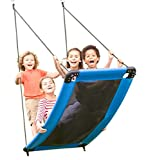 HearthSong SkyCurve Hanging Platform Rope Tree Swing for Multiple Children, Padded Steel Frame, Weather Resistant Fabric Mat, 400 LB Max Weight, 60 L x 32 W