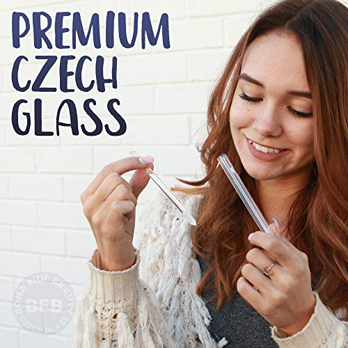 Glass Cuticle Pusher Nail File Set, Professional Manicure Nail Care Tools, Precision Filing, Expertly shape nails for Professional Results - Bona Fide Beauty Premium Czech Glass 2 Cuticle Pusher Set
