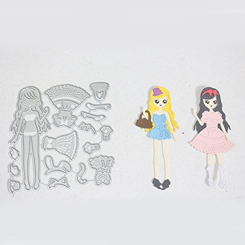 - Beautiful Girl with Two Sets of Dress, Cutting Dies Cut Metal Scrapbooking for DIY Embossing Photo Album Decorative DIY Paper Cards Making Craft ...