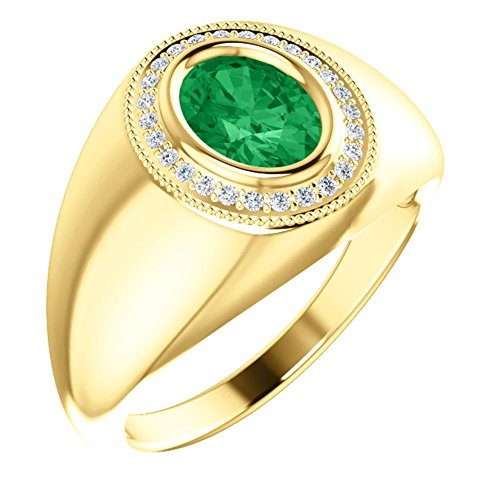 14k Yellow Gold Men's Chatham Created Emerald & Diamond Accented Ring, Size 11