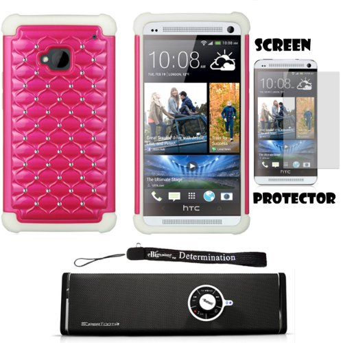 Dual Diamond Back Cover with Silicone Skin For HTC ONE M7 4.7-inch Super LCD 3 (NEWEST 2013 VERSION) + Screen Protector + Bluetooth Speaker by eBigValue