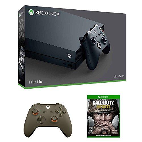 Xbox One X Call of Duty WWII Bundle (3 Items): Xbox One X 1TB Console, Call of Duty WWII Game, and Green/Orange Wireless Controller